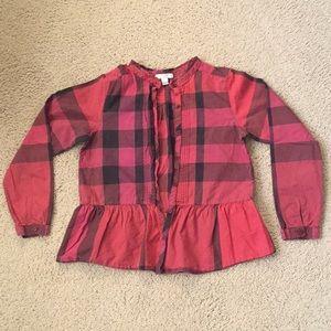 Burberry children red checker blouses